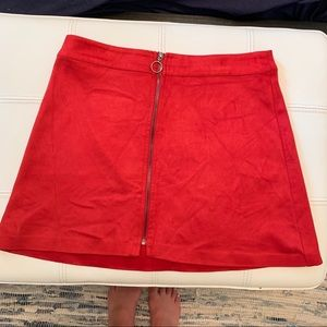 Red Zara suede skirt